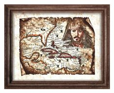 Grunge Jack Sparrow Pirate Map of Caribbean Art Decor,Pirate Old Map,Antique Map,Pirates of the Caribbean,Wall Art,Decor,Instant Download
