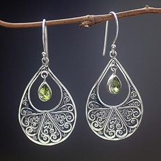 Hand Made Sterling Silver and Peridot Dangle Earrings - Green Tears of Happiness Fabric Jewelry, Beaded Jewelry, Filigree Jewelry, Paper Jewelry, Leather Jewelry, Metal Jewelry, Gemstone Jewelry, Jewlery, Jewelry Box