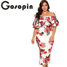2dc667c2c63 Gosopin Off Shoulder Dresses Summer Floral Ruffle Elegant Party Bodycon Dress  Plus Size XXXL Vestidos De Festa Longo LC61611
