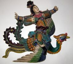 Antique Chinese Roof Tile Warrior Man Riding Phoenix (Artist Signed). For the outer edge of roof's apex?