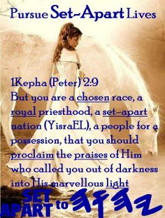 1 Peter 2:9 But you are not like that, for you are a chosen people. You are royal priests, a holy nation, God's very own possession. As a result, you can show others the goodness of God, for he called you out of the darkness into his wonderful light.