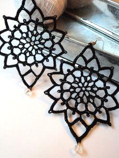 Orecchini Pizzo romantico nero decorati con di DesignAnna su Etsy