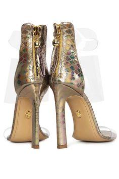 Sandale din piele metalizata tip sarpe si PVC Mihai Albu imagine 2