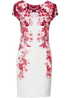 Úpletové šaty, BODYFLIRT, ecru-tmavá pink s potiskem