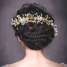 Bridal Gold Leaf Hairwear Pearl Flower Set Auger Hair Jewelry Wedding Hair Accessories Bride Head Chain Hairwear Jewelry-in Hair Jewelry from Jewelry & Accessories on Aliexpress.com | Alibaba Group