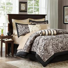 Wellington 100% Polyester 12 Piece Jacquard Comforter Set with Piping by Madison Park - MP10-333