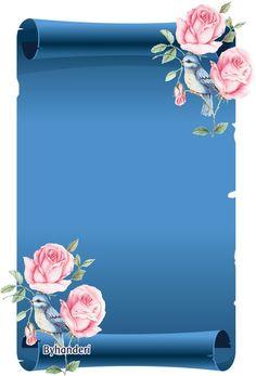 Bluebird and Roses Framed Wallpaper, Flower Background Wallpaper, Flower Backgrounds, Wallpaper Backgrounds, Frame Background, Frame Border Design, Page Borders Design, Marshmello Wallpapers, Boarders And Frames