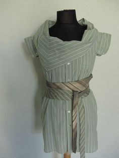 Upcycled Clothing / Avocado Green Striped shirt by GarageCoutureClothes