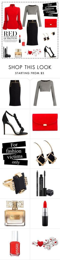 """""""RED in the Times of Quirkiness"""" by rboowybe ❤ liked on Polyvore featuring Dolce&Gabbana, Olgana, Alexander McQueen, Mansur Gavriel, Marni, Rodial, Givenchy, MAC Cosmetics and Essie"""