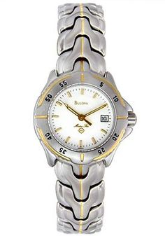 Bulova Marine Star Ladies 100 Meter Two Tone Watch 98M81 -- Click image for more details.