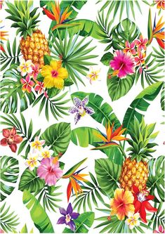 new ideas wallpaper whatsapp flowers tropical prints Tropical Flowers, Motif Tropical, Tropical Pattern, Tropical Vibes, Tropical Prints, Pineapple Wallpaper, Tropical Wallpaper, Love Wallpaper, Wallpaper Backgrounds