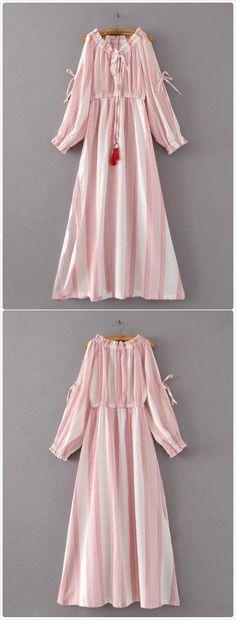 Boho off the Shoulder Long Sleeve Maxi Dress