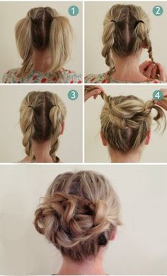 40 Quick And Easy Updos For Medium Hair - Hair & Beauty - Frisuren 5 Minute Hairstyles, Up Hairstyles, Pretty Hairstyles, School Hairstyles, Wedding Hairstyles, Everyday Hairstyles, Formal Hairstyles, Natural Hairstyles, Feathered Hairstyles