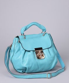 Take a look at this Seafoam Crisscross Lock Leather Handbag by Accent on Style: Women's Handbags on #zulily today!