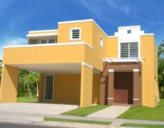 Yellow House Exterior, Classic House Exterior, House Paint Exterior, Exterior Design, Style At Home, House With Balcony, Small Floor Plans, Colour Architecture, Two Storey House