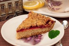 Delicious crumb cake with cowberry and lemon.