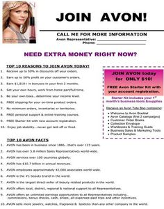 Start your own avon business for only ten dollars visit www.youravon.com/daphanestevens or email me at buyavonbydee@gmail.com