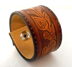 Brown Leather Cuff Bracelet Flower Floral by honeyblossomstudio