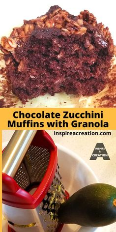 Chocolate Zucchini Muffins with Granola by Inspire a Creation is one of the most tasty recipes you will find. This easy recipe uses grated zucchini and granola, and features chocolate upon chocolate. If chocolate is your thing, this recipe is one to try. This is a great way to use the zucchini from the garden. #zucchini #muffins #granola #chocolate #easyrecipe #inspireacreation
