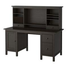 "HEMNES Desk with add-on unit, black-brown - 61x53 7/8 "" - IKEA"