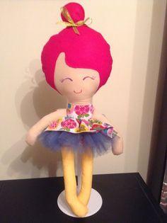 Handmade doll Pink with an Apple design dress and a Green Tutu skirt