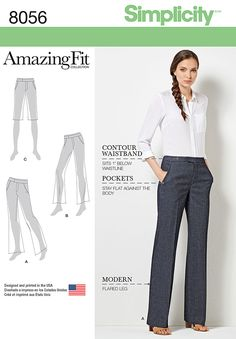 Simplicity Amazing Fit Miss and Plus Size Flared Pants or Shorts 8056 - options for Slim, Average, and Curvy fit.
