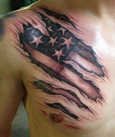 Shaded flag under the skin
