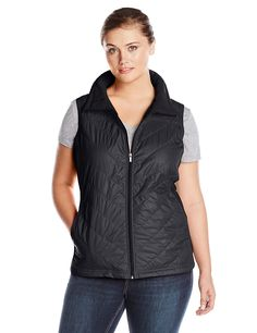 Columbia Women's Plus-Size Mix It Around Vest Plus, Black, Sleek and stylish, this vest from Columbia features fleece side panels and two front pockets. Casual Coats For Women, Clothes For Women, Plus Size Coats, Columbia, Stylish, My Style, Side Panels, Jackets, How To Wear