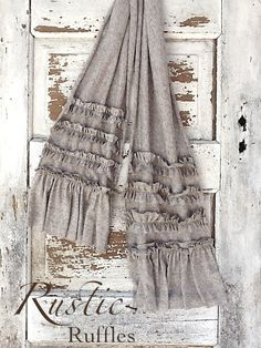 Rustic Ruffled French Cotton Knit Scarf  Raw by CamillaCotton, $24.00