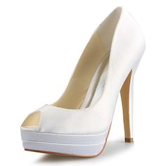 Women's Shoes Peep Toe Stiletto Heel Satin Pumps Wedding Shoes More Colors available – USD $ 49.99 (Silver)