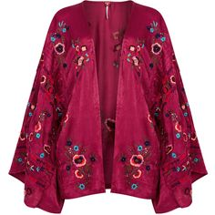 Free People Ariel Embroidered Satin Kimono Jacket - Size M/L (£130) ❤ liked on Polyvore featuring outerwear, jackets, satin kimono, beaded jacket, purple kimono, embroidered kimono and open front kimono