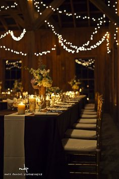 Barn Weddings: Reception Seating  Long lines of rectangular tables is a popular style for inside barns
