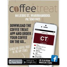 Have you ever ordered your coffee with a mobile app and had it ready to go when you pick it up? For a life changing experience.  Download the coffee treat app today! #coffee3280 #coffeetreat3280 #destinationwarrnambool #love3280 #freedownload #apple #android #warrnambool #warrnamboolcafe by destinationwarrnambool http://ift.tt/1LWgNOG