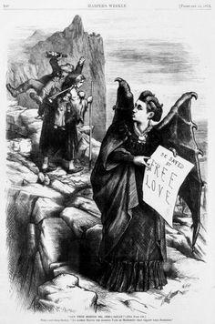 """Mrs Satan"" Spiritual medium, free love advocate, and journalist Victoria Woodhull. Unknown artist, ca. 1870s."