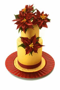 Red and gold poinsetias cake - Cake by Delicut Cakes