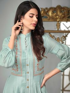 Powder Blue Slub Cotton Frock Style Pleated Kurti with Floral Embroidery Pakistani Fashion Casual, Pakistani Dresses Casual, Pakistani Dress Design, Kurti Designs Pakistani, Pakistani Suits, Sleeves Designs For Dresses, Dress Neck Designs, Kurta Designs Women, Salwar Designs