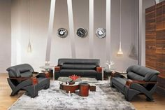 "2034 Modern Black Leather Set by VIG. $3000.00. Color: Black. Upholstery Material: Leather/Leather Match. Color: Black Dimensions: Sofa: L80""/D29""/H33"" Love seat: L60""/D39""/H33"" Chair: L42""/D39""/H33"" Manufacturer: Modern Furniture by VIG"