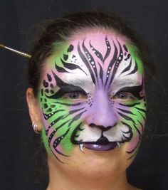 Adult Face Painting - Face Painting Melbourne Body Art - Chameleon Face and Body FX