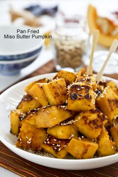 Fragrantly delicious and addicting Pan Fried Miso Butter Pumpkin sprinkled with toasted sesame seeds. Great as a snack or side dish.   RotiNRice.com