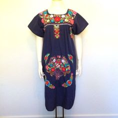 Vtg Oaxacan Floral Embroidered Maxi Festival Dress Boho Hippie Tent Mexican L XL