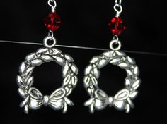 Wreath Earrings by CraftySquirrelDesign on Etsy