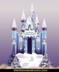 Create the perfect winter wonderland with this 10 ft 8 in high x 7 ft 8 in wide Ice Castle. Cardboard Ice Castle is accented with iridescent snow. Personalize the castle sign with your own special message! Frozen Birthday Invitations, Frozen Themed Birthday Party, Birthday Party Themes, Winter Wonderland Theme, Winter Wonderland Christmas, Frozen Bedroom, Frozen Castle, Disney Princess Costumes, Disney Frozen Birthday
