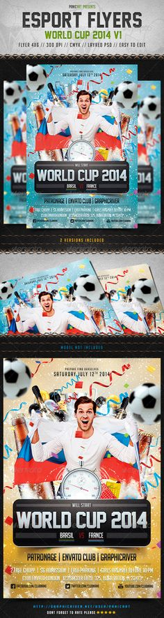 Flyer World Cup 2014, arena, brazil, champions, champions league, championship, college, cup, dunk, euro, event, fans, field, flyer, football, game, goal, league, olympics, playoffs, psd, soccer, sports, stadium, summer sport, template, torch, tournament, vuvuzela, world cup 2014