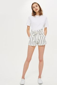 Cream colour and stripy shorts with paper bag waist detail.