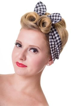 1940s 1950s check gingham blue headband pinup style