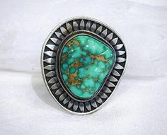 Two-Toned Carico Lake Turquoise Sterling Ring