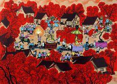 Village Festival - Chinese Folk Art Painting