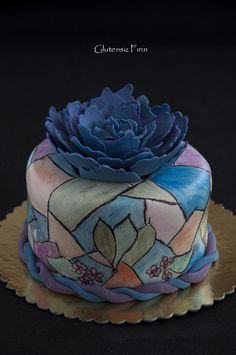 glutenfree stained glass and peony cake