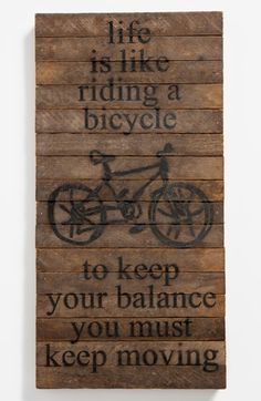 'Life Is Like Riding a Bicycle' Repurposed Wood Wall Art available at #Nordstrom