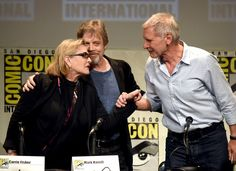 Harrison Ford Carrie Fisher Photos Photos - (L-R) Actress Carrie Fisher, actor Mark Hamill and actor Harrison Ford speak onstage at the Lucasfilm panel during Comic-Con International 2015 at the San Diego Convention Center on July 10, 2015 in San Diego, California. - Comic-Con International 2015 - Lucasfilm Panel